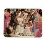 Vintage Wedding Bride Groom Newlyweds Cut Cake Rectangular Magnets