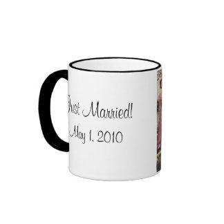 Vintage Wedding Bride Groom Newlyweds Cut Cake Ringer Coffee Mug