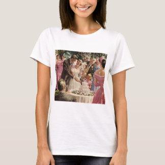 Vintage Wedding Bride Groom Newlyweds Cut Cake T-Shirt