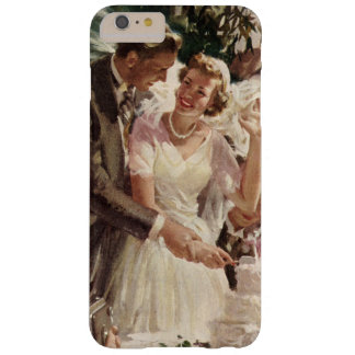 Vintage Wedding Bride Groom Newlyweds Cut the Cake Barely There iPhone 6 Plus Case