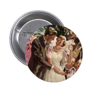 Vintage Wedding Bride Groom Newlyweds Cut the Cake Button
