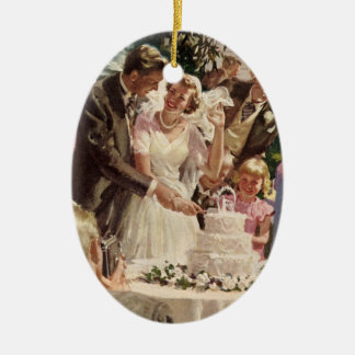 Vintage Wedding Bride Groom Newlyweds Cut the Cake Ceramic Ornament