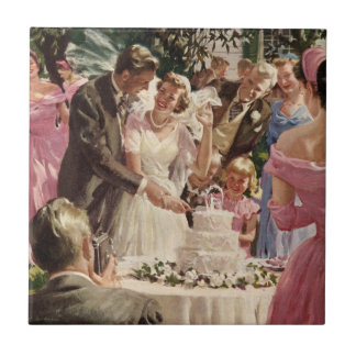 Vintage Wedding Bride Groom Newlyweds Cut the Cake Ceramic Tile