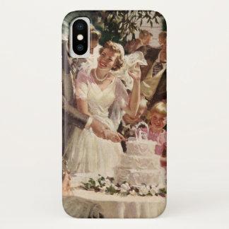 Vintage Wedding Bride Groom Newlyweds Cut the Cake iPhone X Case