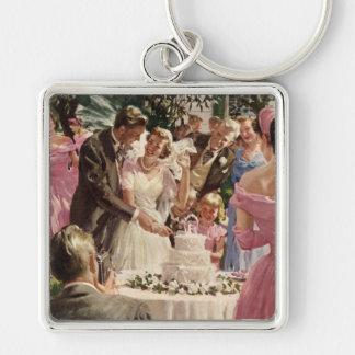 Vintage Wedding Bride Groom Newlyweds Cut the Cake Keychain