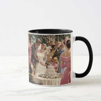 Vintage Wedding Bride Groom Newlyweds Cut the Cake Mug