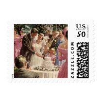 Vintage Wedding Bride Groom Newlyweds Cut the Cake Postage