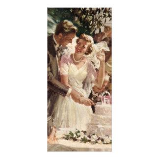 Vintage Wedding Bride Groom Newlyweds Cut the Cake Rack Card