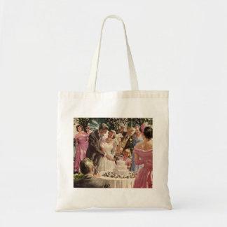 Vintage Wedding Bride Groom Newlyweds Cut the Cake Tote Bag