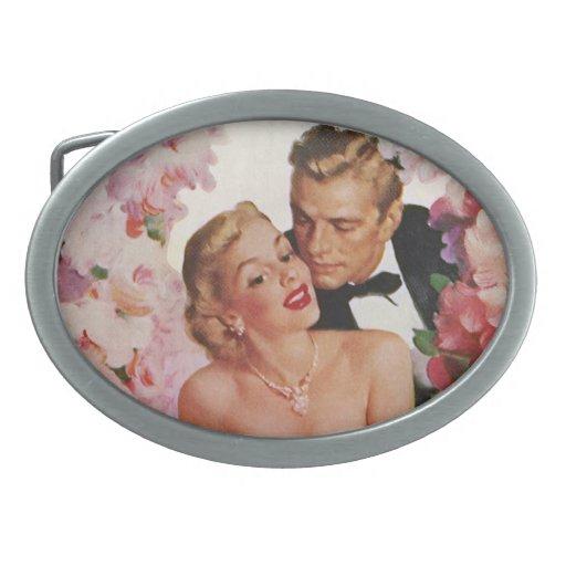 Vintage Wedding Bride Groom Newlyweds Flowers Belt Buckle