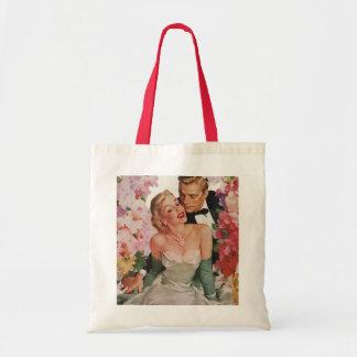 Vintage Wedding Bride Groom Newlyweds Flowers Budget Tote Bag