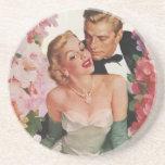 Vintage Wedding Bride Groom Newlyweds Flowers Beverage Coaster
