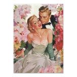 Vintage Wedding Bride Groom Newlyweds Flowers Custom Announcement