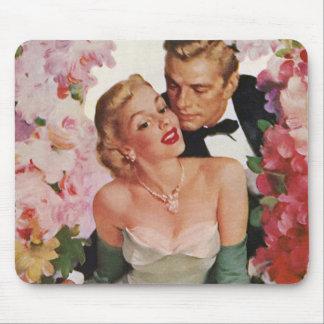 Vintage Wedding Bride Groom Newlyweds Flowers Mouse Pad