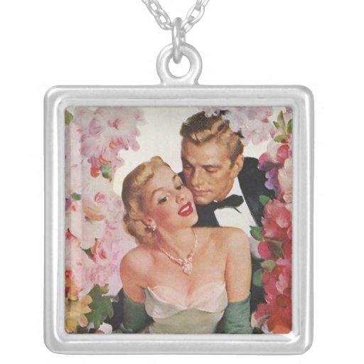 Vintage Wedding Bride Groom Newlyweds Flowers Pendants