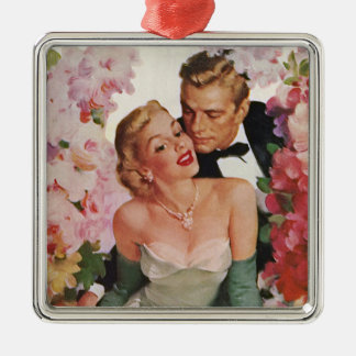 Vintage Wedding Bride Groom Newlyweds Flowers Christmas Tree Ornament