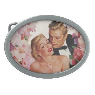 Vintage Wedding Bride Groom Newlyweds Flowers Oval Belt Buckle