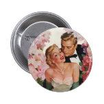 Vintage Wedding Bride Groom Newlyweds Flowers Pin