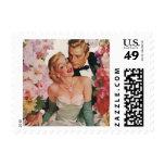 Vintage Wedding Bride Groom Newlyweds Flowers Postage Stamps