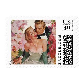 Vintage Wedding Bride Groom Newlyweds Flowers Postage Stamp