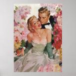 Vintage Wedding Bride Groom Newlyweds Flowers Poster