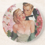 Vintage Wedding Bride Groom Newlyweds Flowers Sandstone Coaster