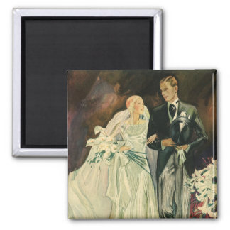 Vintage Wedding Bride Groom Newlyweds Just Married 2 Inch Square Magnet