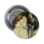 Vintage Wedding Bride Groom Newlyweds Just Married Button