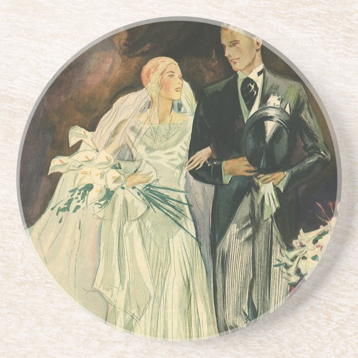 Vintage Wedding Bride Groom Newlyweds Just Married Coaster