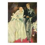 Vintage Wedding Bride Groom Newlyweds Just Married Custom Announcement