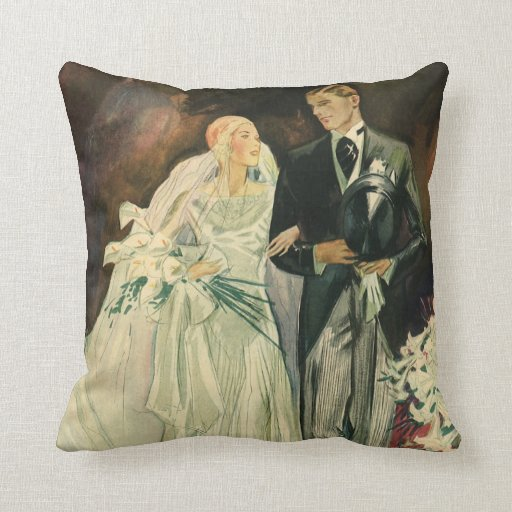 Vintage Wedding Bride Groom Newlyweds Just Married Pillows