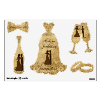 Vintage wedding Bride Groom Once upon a time decal
