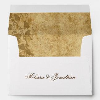 Vintage wedding Bride Groom Once upon a time Envelope