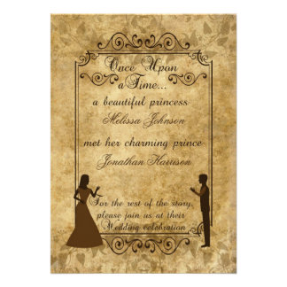 Vintage wedding Bride Groom Once upon a time Custom Invitations