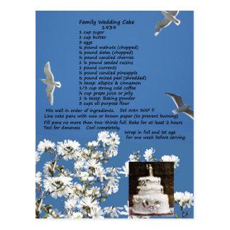 Vintage Wedding Cake Recipe Postcard