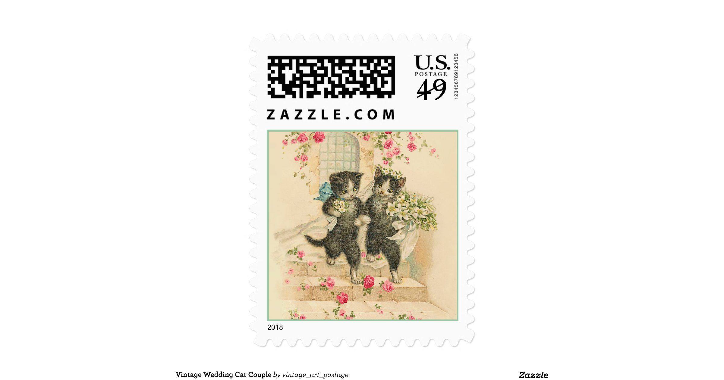 Vintage Wedding Cat Couple Stamp Rbf2762362e78452e8b9b88bcd2502173 Zhgfs 8byvr 1200view