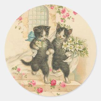 Vintage Wedding Cat Marriage Classic Round Sticker