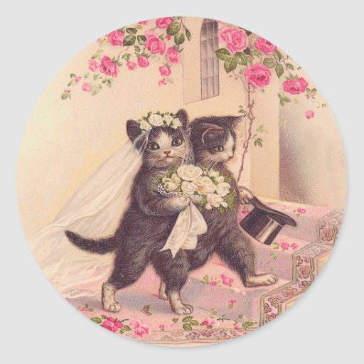 Vintage Wedding Cats Bride and Groom Classic Round Sticker Zazzle
