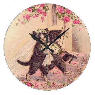 Vintage Wedding Cats Bride and Groom Wall Clocks