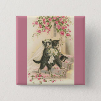 Vintage Wedding Cats, Button