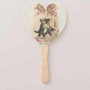 Bride Themed Vintage Wedding Cats, Hand Fan