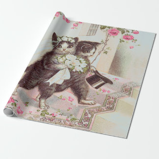 Vintage Wedding Cats Light Blue Wrapping Paper