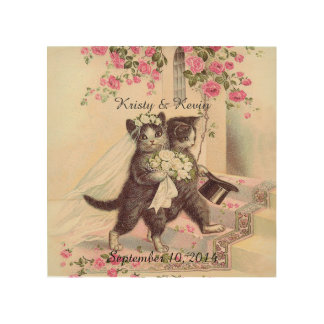 Vintage Wedding Cats Personalizable Wood Print