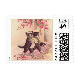 Vintage Wedding Cats Postage