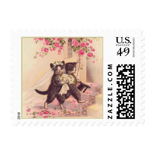 Vintage Wedding Cats Postage Stamp