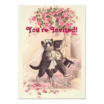 Vintage Wedding Cats Soft Pink Invitation