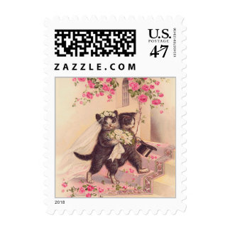 Vintage Wedding Cats with Silver Border Postage