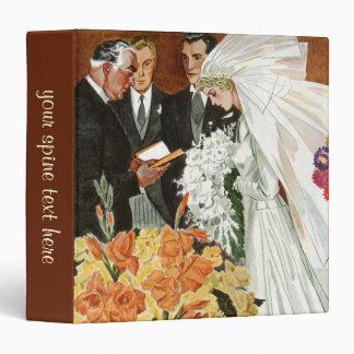 Vintage Wedding Ceremony, Bride Groom Newlyweds Binder