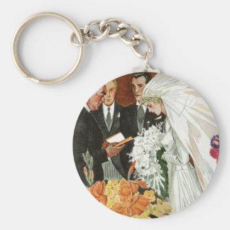 Vintage Wedding Ceremony, Bride Groom Newlyweds Key Chains