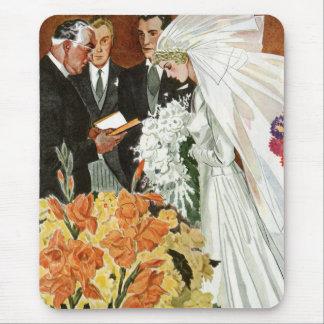 Vintage Wedding Ceremony, Bride Groom Newlyweds Mouse Pad